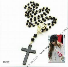 70cm Cross Black Sweater Chain Necklace Jewelry Vintage Charms