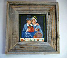 Thanksgiving Folk Art Pilgrims Framed in by barbsheartstrokes,