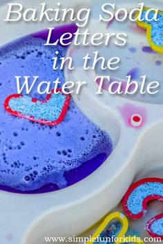 Sensory Science for Kids: Who knew you could reuse baking soda? Fizzy fun with recycled baking soda letters in the water table! Educational Activities For Preschoolers, Preschool Education, Indoor Activities For Kids, Preschool Science, Literacy Activities, Science For Kids, Toddler Activities, Preschool Ideas, Summer Activities