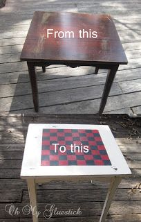 Pinner Before: Checker Board Side Table in 7 easy steps. This would be great for Chris's parents new game room!