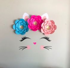Cat Birthday, Unicorn Birthday Parties, Unicorn Party, Birthday Party Themes, Kitten Party, Cat Party, Paper Flower Arrangements, Paper Flowers, Cat Themed Parties