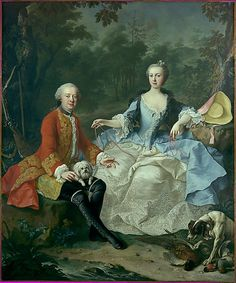 Martin van Meytens the Younger (Swedish, 1695–1770). Count Giacomo Durazzo (1717–1794) in the Guise of a Huntsman with His Wife (Ernestine Aloisia Ungnad von Weissenwolff, 1732–1794), probably early 1760s. The Metropolitan Museum of Art, New York. Gift of Mr. and Mrs. Nate B. Spingold, 1950 (50.50) #dogs