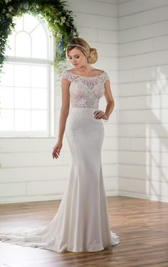 D2298 Off the Shoulder Wedding Gown with Lace Train by Essense of Australia