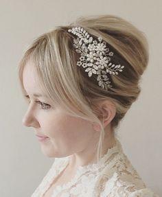 Bridal headpiece, wedding tiara, floral side tiara, freshwater pearl flower headdress, Swarovski crystal bride headband, wedding accessories