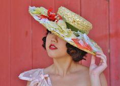 1930s widebrim straw hat with silk fowers green velvet by DreemCo
