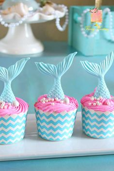 Ideas For Cupcakes Cute Pink Party Ideas Mermaid Theme Birthday, Little Mermaid Birthday, Little Mermaid Parties, The Little Mermaid, Mermaid Themed Party, Cupcake Birthday Cake, Birthday Cake Girls, 1st Birthday Parties, Party Cupcakes