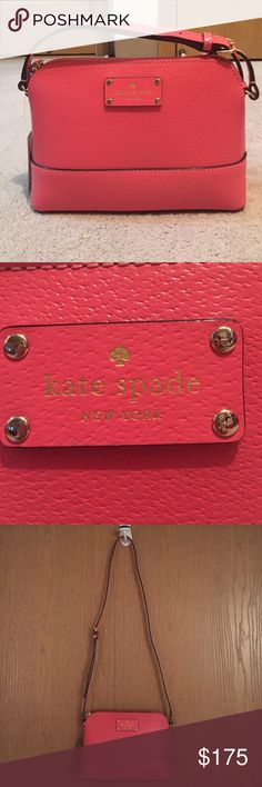 "NWT Kate spade cross body bag New with tags Kate spade cross body bag. Color is ""flamingo"". Bag has adjustable cross-body strap. Bag is about 9 inches in length, 3 inches wide, and 6.5 inches tall. kate spade Bags"