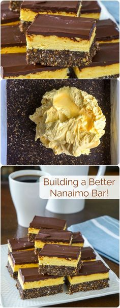Nanaimo Bars - building a better version of a classic Canadian cookie treat! - - Nanaimo Bars - building a better version. Try this revamped version of the classic Canadian treat with a more substantial base layer and an improved filling. Nanaimo Bars, No Bake Treats, Yummy Treats, Sweet Treats, Yummy Food, Holiday Baking, Christmas Baking, Chocolate Chip Cookies, Oreo