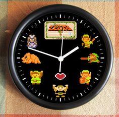 The LEGEND of ZELDA 8 Bit 8 Byte Link Nintendo Video Game 10 inch Resin Wall Clock Weddings  Christmas QuickShip