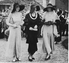 1930's: longer hems, hats with wide brims, waist line moved up, gloves