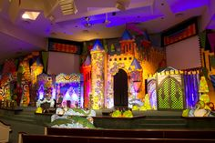 Set design- this is intense!wish we had the budget for it Stage Design, Set Design, Once Upon A Mattress, Disney Prom, Vbs Themes, Vbs 2016, Vacation Bible School, Stage Set, Kids Church