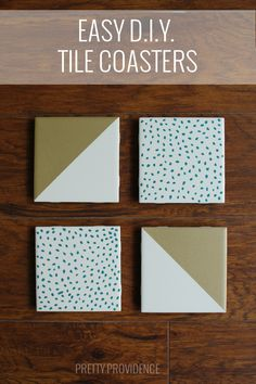 DIY Tile Coasters - This was so easy and plain white tiles cost 13 cents each at the hardware store! Super fun girls night craft!