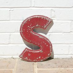 Vintage Metal Sign Metal Letter S Sign Chippy by timepassages, $28.00