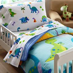 Dinosaurs are still roaming around on Olive Kids Dinosaur Land Toddler Comforter and Bedding.  A little guy is sure to love the Brontosaurus and T-Rex as well as the volcanoes, primitive trees and din