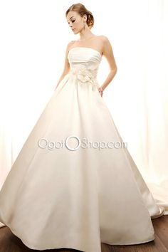 Simple Ivory Strapless Off-the-Shoulder Empire Ball Gown Wedding Dress with Floral Decoration