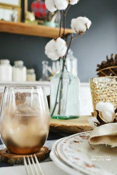 DIY Gold Dipped Wine Glasses & Thanksgiving table setting | MyFabulessLife.com