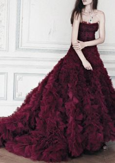 Coloured Wedding Gowns / Oxblood / Wedding Style Inspiration / LANE (instagram: the_lane)