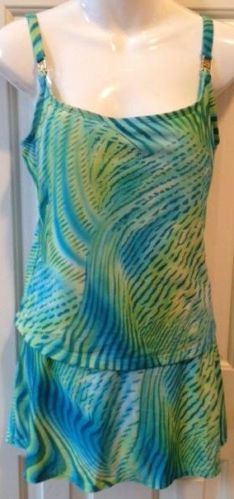 St. John Sport 2 piece swim suit skirt size 12 blue green yellow built in bra