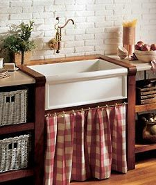 Trendiest kitchen sink around Farmhouse! Bathe your biggest pans. Adore the French Provencal skirted cabinet too.