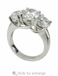 Three Stone Round Luccia Anniversary Ring