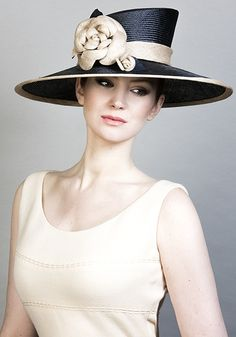 Rachel Trevor Morgan Millinery SS 2016   R1669 - Navy parisisal straw hat with handmade straw camellias