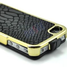 Golden Plate Genuine Leather Flip Case for #iPhone 4/4S
