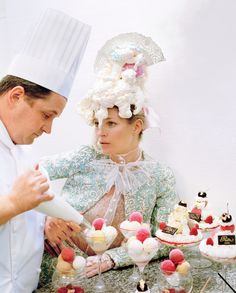 Kate Moss with Ritz Paris pastry chef Olivier Desquest by Tim Walker for Vogue, April 2012
