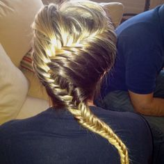 Twisted fishtail I did on Megan.. She's a trooper (: