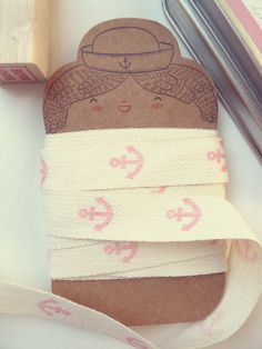 Ribbon  Hand Stamped  Fabric Ribbon  Hand Stamped by littleatae, €5.00