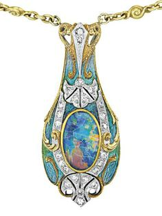 Tiffany & Co.    An Art Nouveau Black Opal, Diamond and Enamel Necklace, 1900.    The front suspending an oval cabochon black opal, within an enamel and circular-cut diamond frame, to the collet-set peridot and white opal gold chain, mounted in 14K yellow gold, length 23 inches. Signed 'Tiffany & Co.' Philips de Pury.