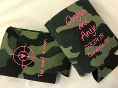 LOVE the hot pink on camo! The Hunt is Over! Wedding Koozies, Free Graphics, Kustom, Personalized Wedding, Drink Sleeves, Camo, Hot Pink, Wedding Dresses, Prints