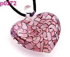handmade heart Murano Lampwork glass art beaded Pendant necklace p0272
