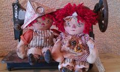 I think I need this pattern. Really sweet. They are only 9 inches tall and I do love tiny :) Friends Forever Tiny Raggedy Ann and Andy by UnderThePumpkinMoon