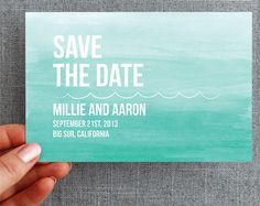 Watercolor  50 Custom Postcards  Save the Date  Ombre Ocean by Minelolly, $74.00