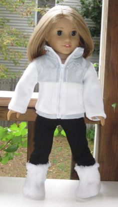 "White Jacket & Black Leggings & Boots Doll Clothes Made for 18"" American Girl"