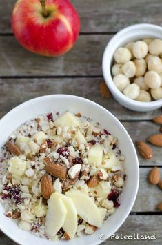 "28 desayunos fáciles y saludables que puedes comer sobre la marcha - Avena ""paleo"" reposada durante toda la noche con crujiente manzana y frutos secos Healthy Desayunos, Healthy Breakfast Recipes, Paleo Recipes, Healthy Snacks, Healthy Eating, Cooking Recipes, Healthy Breakfasts, Oats Recipes, Brunch Recipes"