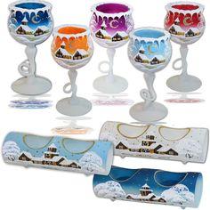 Handgemalter Kerzenhalter Glaskelch Kerzenständer Weihnachtskerzenständer glas