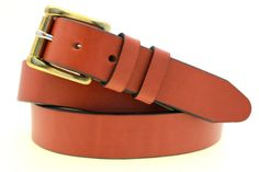 78e312cd4 American Made Men s 1 Chestnut English Bridle Leather Belt With Solid Brass  Roller Buckle Nickel Free