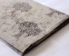 Sold By Yard Indian HandBlock Tree Print Fabric 100% Cotton Natural Dye Fabric A #Handmade