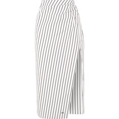 Off-White Draped striped cotton-poplin skirt (1,490 PEN) ❤ liked on Polyvore featuring skirts and bottoms