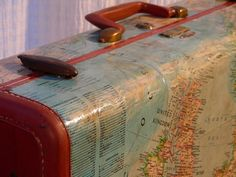 This vintage, hardside samsonite suitcase has been decoupaged with old maps. One side features The World and the other, Europe - by DestinationsVintage /Scott Valentine Vintage Suitcases, Vintage Luggage, Vintage Maps, Vintage Travel, Antique Maps, Map Crafts, Decopage, Map Projects, Map Globe