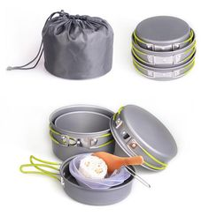 Pot Set Camping Cooker, Pots And Pans Sets, Pan Set, Outdoor Camping, Cookware, Diy Kitchen Appliances, Kitchen Gadgets, Cooking Tools, Tent Camping