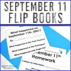 DIGITAL September 11 Flipbook | Patriot Day Flip Book | Editable 9-11 --- Great for 2nd, 3rd, 4th, 5th, 6th, 7th, or 8th grade elementary and middle school students who want to record their learning about Sept. 11th. Digital AND print options available! (second, third, fourth, fifth, sixth, seventh, eighth graders) 5th Grade Classroom, Middle School Classroom, Elementary Teacher, Upper Elementary, Teaching Interview, Remembering September 11th, Ell Students, Patriots Day, Map Skills