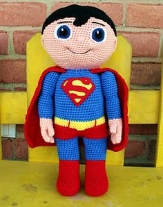 Crochet Toys Design This Buddy, is the perfect companion for that special little hero-loving boy or girl in your life! He is tall and so much fun to hold and cuddle! Crochet For Boys, Love Crochet, Crochet Baby, Knit Crochet, Crochet Gratis, Crochet Amigurumi Free Patterns, Crochet Dolls, Crochet Disney, Crochet Superman