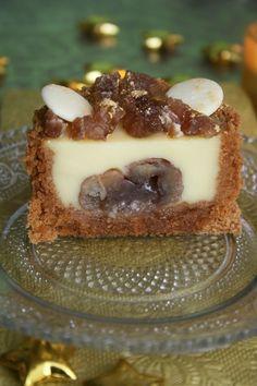 Entremet au pain d'épices et marrons glacés, idée de dessert à l'assiette