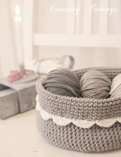 My Country Cottage Garden: A little grey crocheted basket
