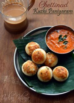 Chettinad Kuzhi Paniyaram Recipe made with leftover idli-dosa batter.  A quick, easy and healthy snack or breakfast dish