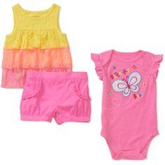 40035e319f100 Garanimals - Newborn Girls' 3 Piece Creeper, Tee and Short Set - Walmart.com