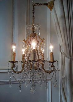 Vintage French 5 LT Bronze & Crystal Cage Chandelier