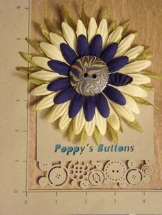 Hand Marbled Button Flower Barrette/Pin by PoppysButtons on Etsy